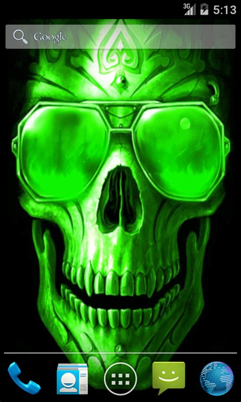 android freeware green skull live wallpaper free android app android freeware