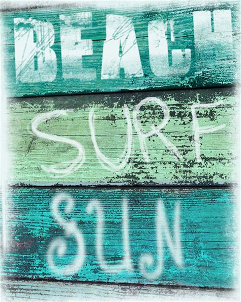 Surf Signs Decor by Vintage Sign Print Surf Sun Aqua Green Blue