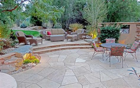 irregular arizona buff flagstone patio with