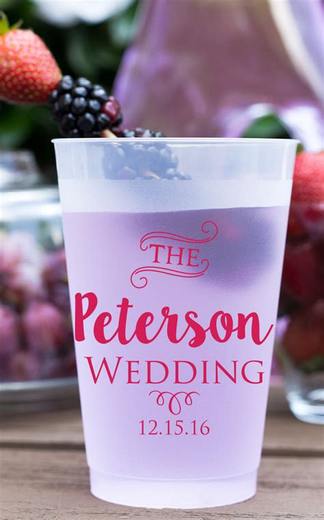 Wedding Favors Cups by Personalized Frosted Cups 12 Oz Wedding