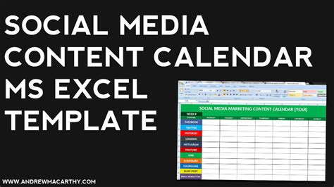 social media content calendar template excel marketing