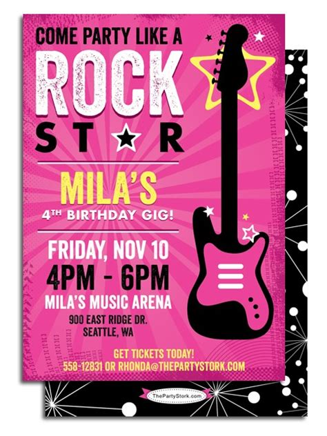 free printable rockstar birthday invitations printable rockstar birthday party invitation