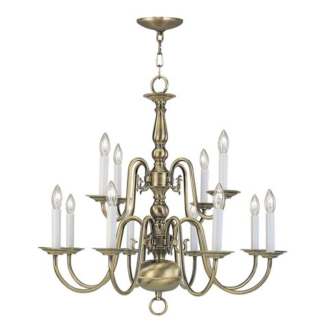Chandelier Base Antique Brass 12 Light 720w Chandelier With Candelabra Bulb Base From Williamsburg Series 5012