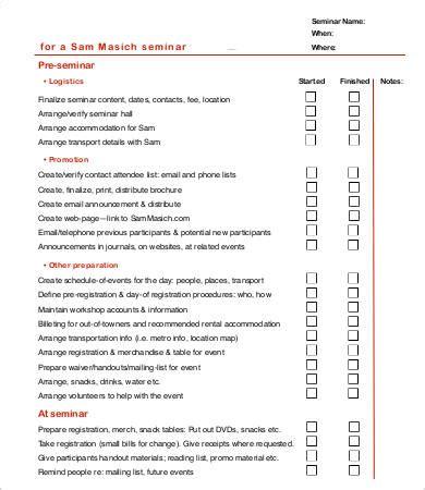 workshop checklist template seminar checklist template 7 free sle exle