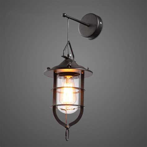 Indoor Nautical Wall Sconce Industrial 1 Light Metal Cage Clear Glass Nautical Hanging Wall Light Indoor Sconces Wall