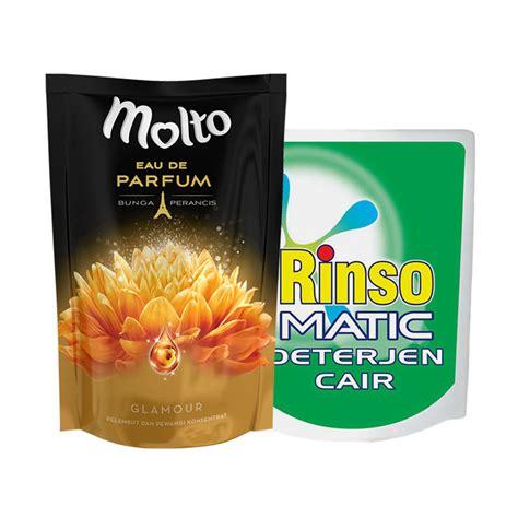 Paket Rinso jual paket hemat cuci baju 06 rinso matic cair bukaan atas 800 ml molto eau de parfum