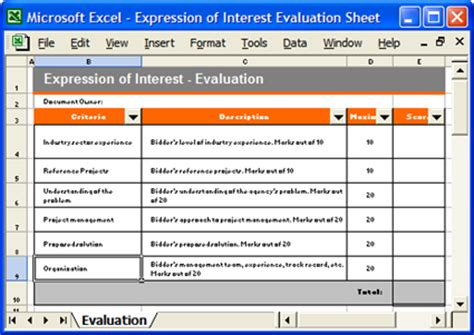 Expression Of Interest Template Software Software Templates Software Evaluation Template Excel
