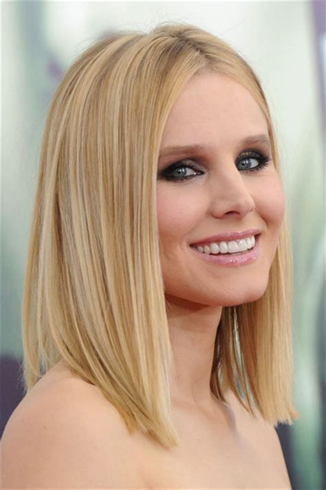 styling an undercut super straight hair medium length kristen bell medium straight cut shoulder length