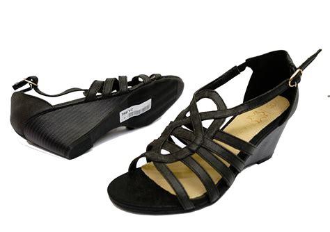 Comfy Leather Black Wedges Leather Gladiator Comfy Peep Toe