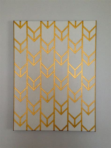 canvas gold pattern unlock customizable hand painted acrylic chevron arrow design on
