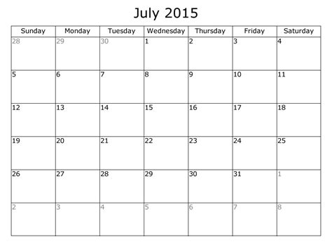 Printable Monthly Calendar For July 2015 | 9 best images of free printable july 2015 free large