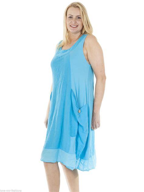 womens italian lagenlook ribbed pocket sleeveless linen