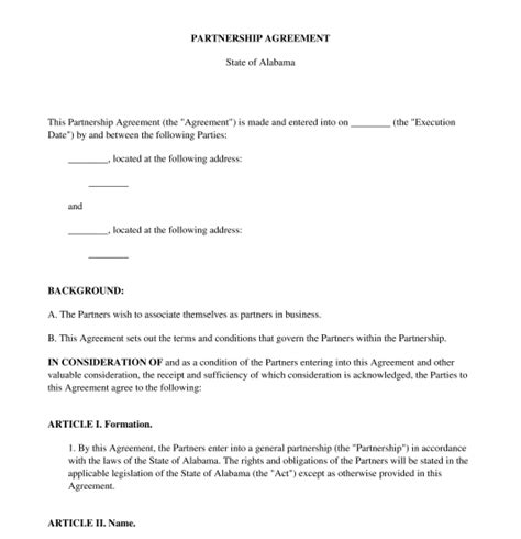 articles of partnership template partnership agreement sle template word and pdf