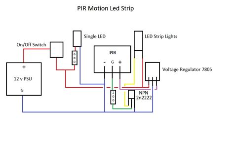 transistors 12v led lights controlled by pir want