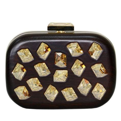 Devi Kroell Mesh Bag by Devi Kroell Brown Wood And Jeweled Clutch At 1stdibs