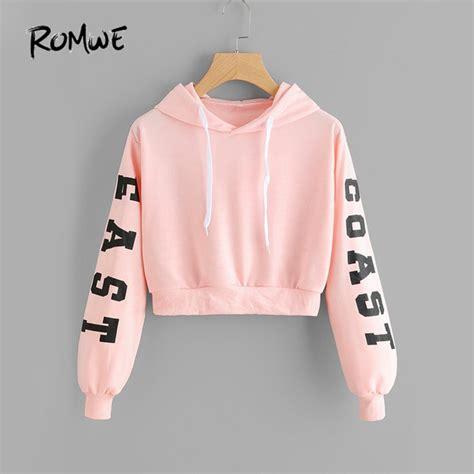 Lettering Cropped Hoodie romwe pink cropped hoodies drawstring kawaii letters