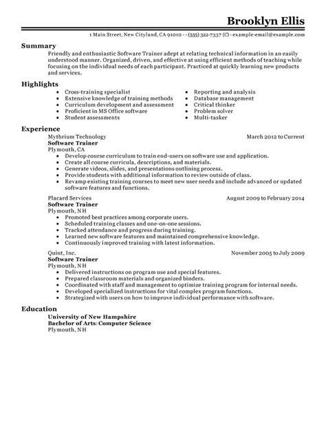 sle trainer resume sales trainer resume objective