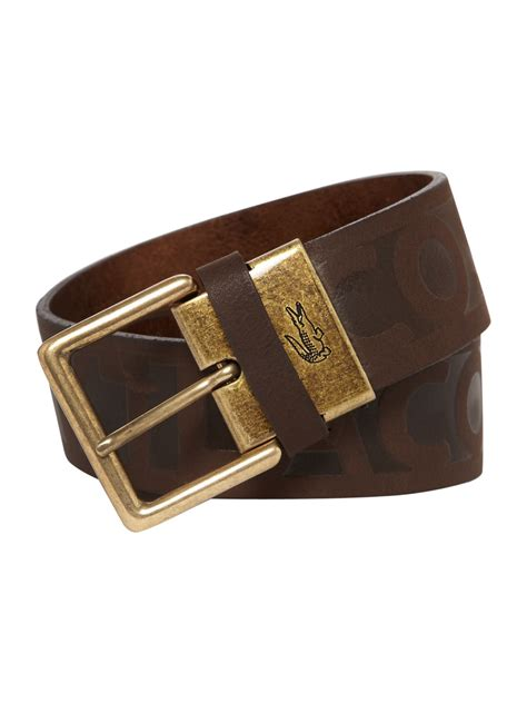 lacoste leather belt in brown for lyst