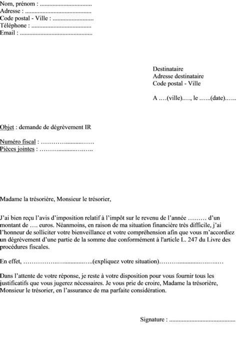 Modele Lettre Demande Exoneration Taxe Habitation modele lettre exoneration taxe habitation