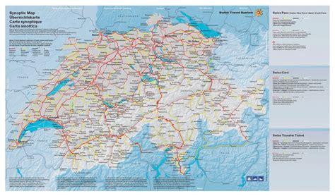 large map of large detailed transport map of switzerland switzerland