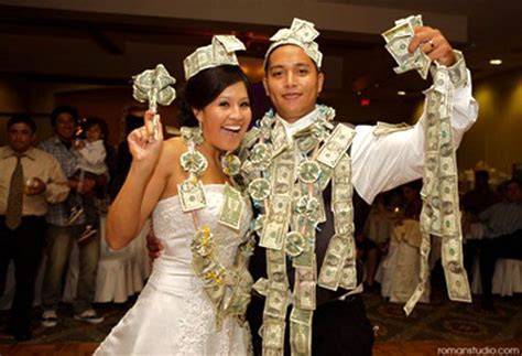 In Cuba, pinning money on the bride is a wedding custom