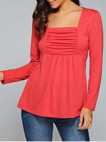 Square Neck Sleeve T Shirt square neck ruched sleeve t shirt rosegal