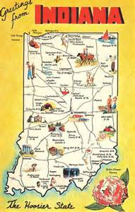 Indiana State Map by Greetings From Indiana State Map Vintage Postcard Maps