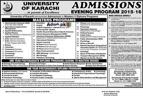 Mba Evening Program In Karachi by Karachi Admissions Open 2015 16 For Masters And