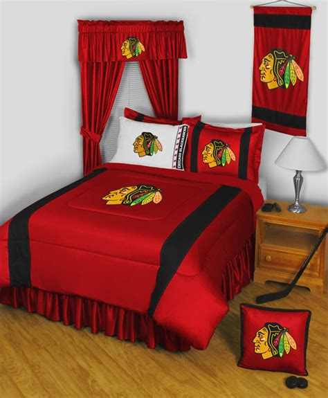 nhl chicago blackhawks queen bedding set 5pc hockey