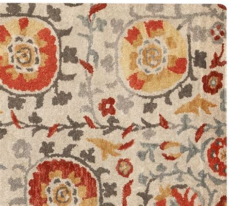 pottery barn suzani rug asli suzani tufted rug multi