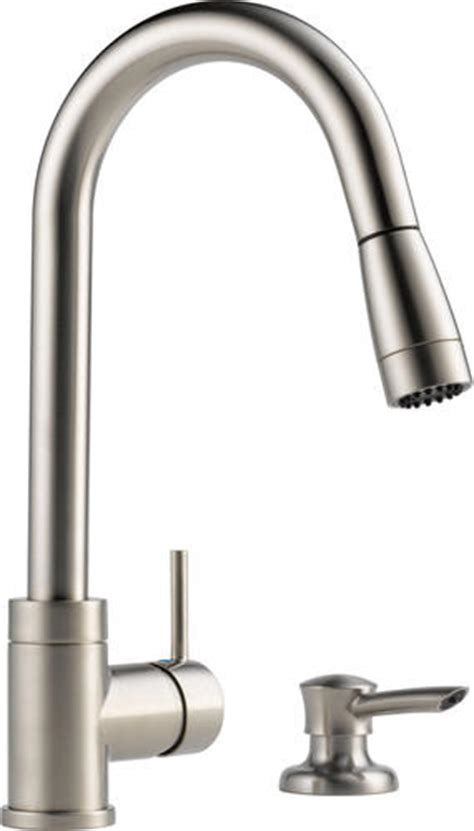 delta peerless pull out kitchen faucet with soap dispenser peerless 174 apex integrated pull down kitchen faucet with