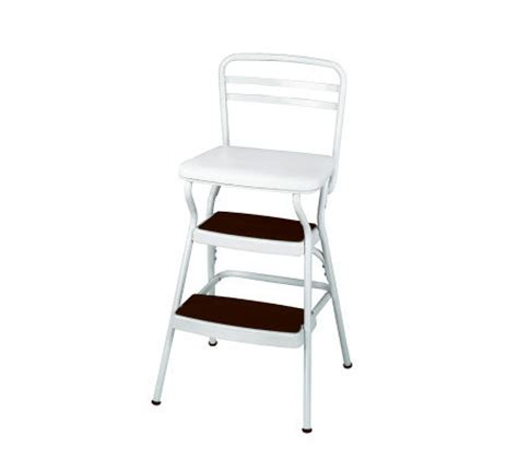 Cosco Retro Counter Chair Step Stool With Lift Up Seat by Cosco White Retro Counter Chair Step Stool With Lift Up