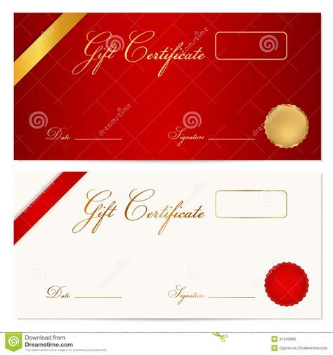 gift certificate voucher template wax seal stock vector illustration  reward present