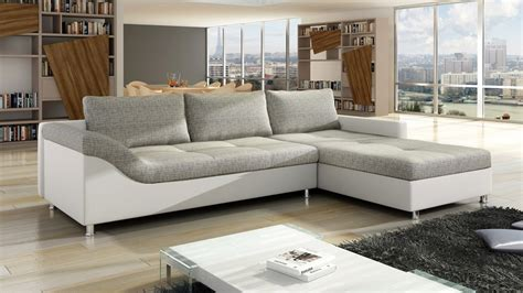 White Faux Leather and Grey Fabric Corner Sofa   Homegenies