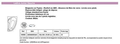 Baignoire Ladiva 160x100 by Baignoire Ladiva Aquarine Junior 160x100 Gauche Sans Tablier
