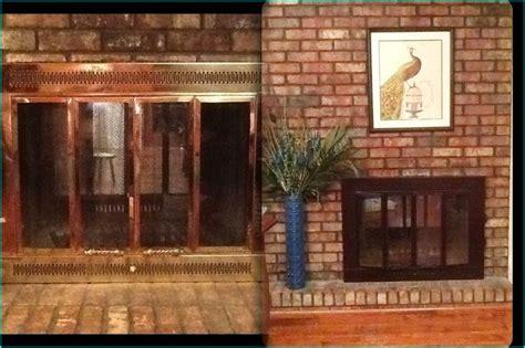 i painted my brass fireplace doors black fireplace screens fireplace doors