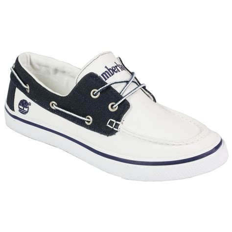 mens timberland 17586 2 eye canvas boat white blue shoes