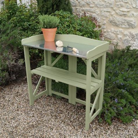 folding potting bench limited sale folding potting table bench in painted sage