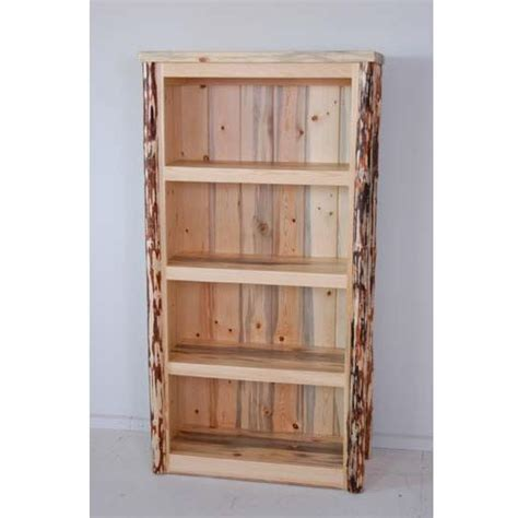 log accented bookcases