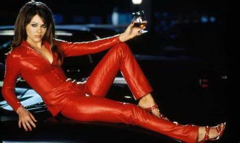 Deep Couches And Sofas Liz Hurley Posing In A Red Leather Catsuit Red Leather
