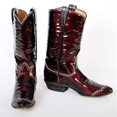 vintage tony lama cowboy boots womens maroon sz 6a
