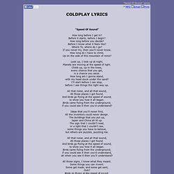 coldplay trouble lyrics coldplay pearltrees