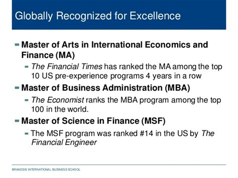 Mba Msf Rankings by Brandeis International Business School Presentation