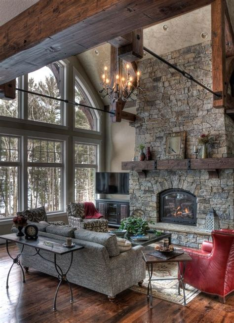 great room fireplace rustic great room with fireplace and wall of windows