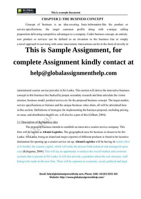 business concept paper template business plan for a company assignment sle