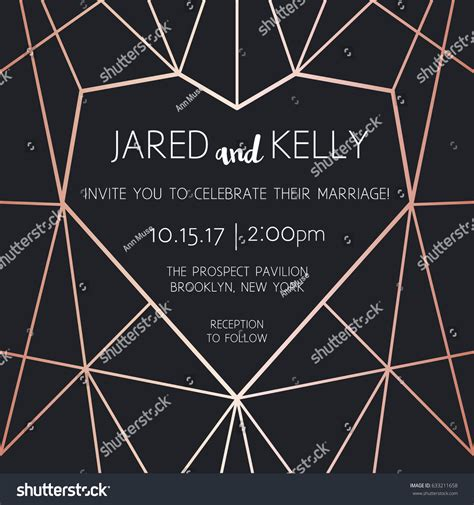 geometric rose gold design template modern design for wedding vector modern design template wedding invitation stock