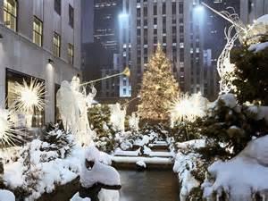 Wallpaper snow winter skyscrapers new york new year christmas