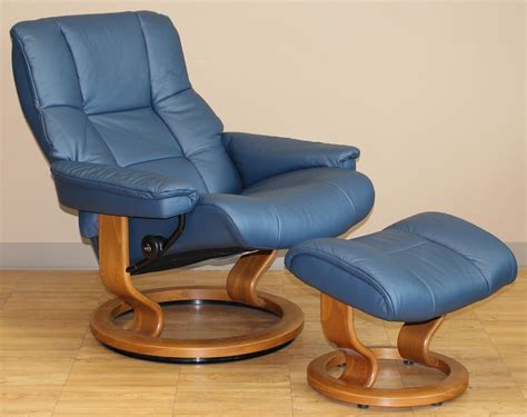 stress recliners stressless mayfair medium paloma oxford blue leather