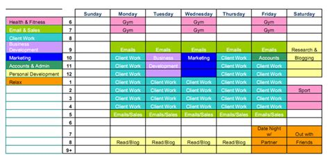 Time Management Schedule Template Weekly Printable Calendar Time Management Schedule Template