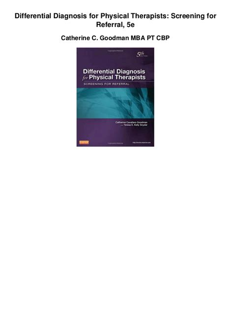 Mba Diagnosis by Differential Diagnosis For Physical Therapists Screening